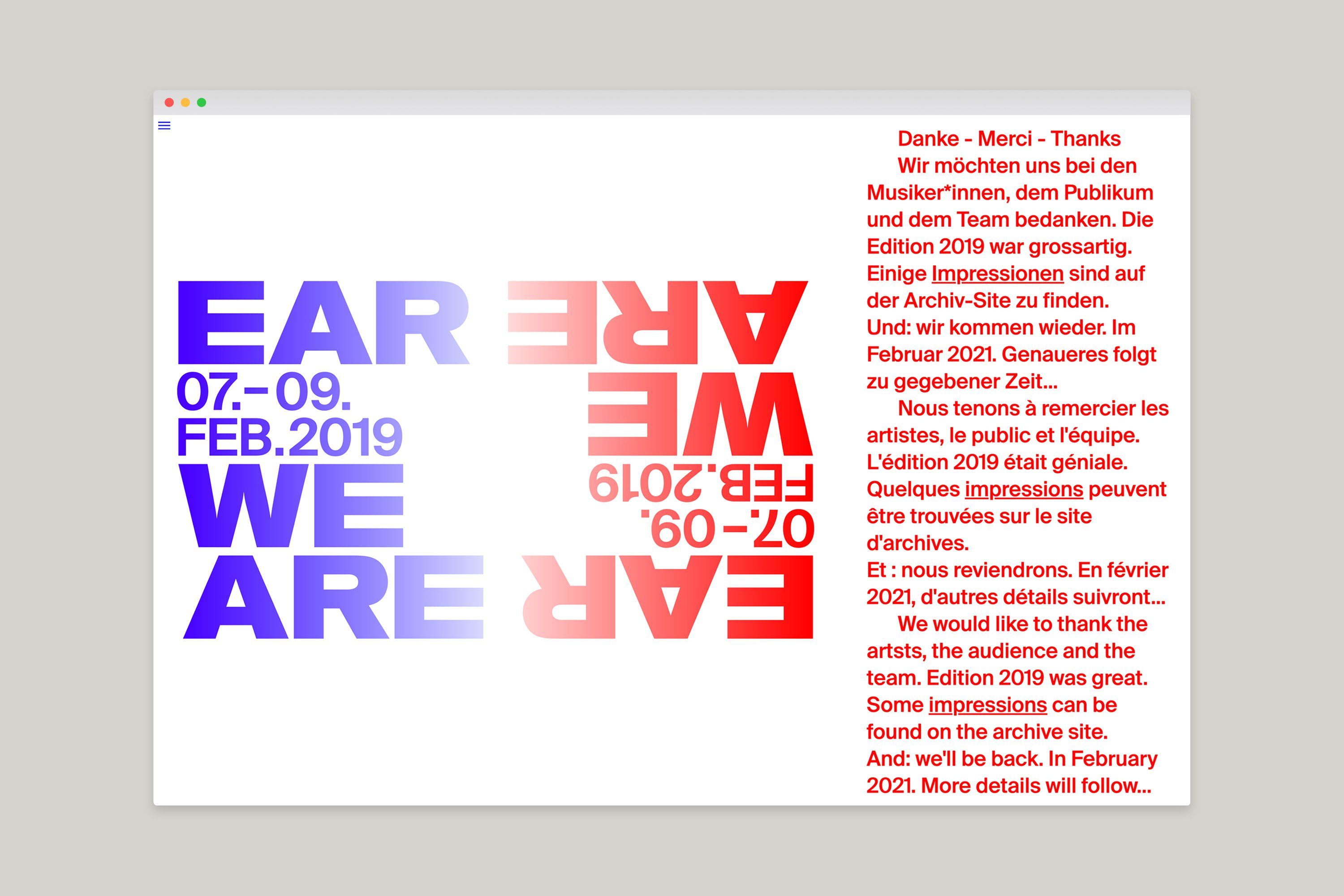 kong grafik ear-we-are programmheft biel 2019